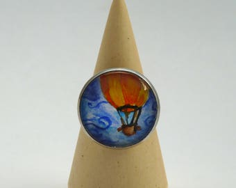 Hot air ballon ring, original hand-painted ring, glass lens ring, landscape ring, Wear a painting!
