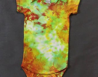 Shibori/ Tie-Dye onsie---yellow, green, orange   -- Size 24mo