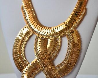Vintage Gold Tone Clear Rhinestone Bib Statement Necklace