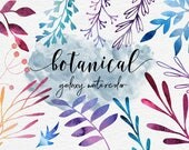 Galaxy Watercolor Plants, Botanical Clipart, Hand Painted Watercolor Plants, Branches, Leaves, Flowers, 30 PNG Floral Elements, BUY5FOR8