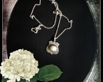 Handmade Finnish Art Nouveau solid silver fob pendant