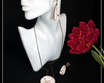 Handmade red and white broken china romantic necklace and earrings