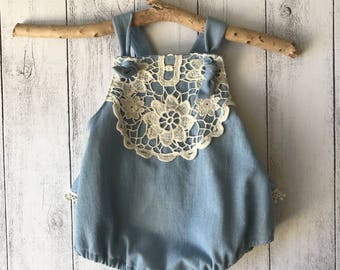 Girls Ruffle Romper with cross back straps - Denim and cream lace