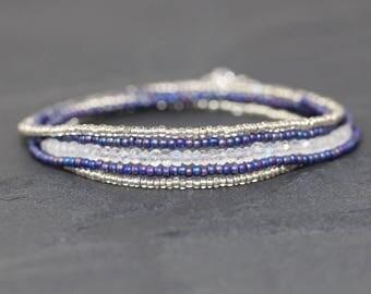 Rainbow Moonstone, Miyuki Seed Bead & Sterling Silver Long Necklace. Blue Beaded Layering Necklace. Delicate Gemstone Wrap Bracelet. Jewelry