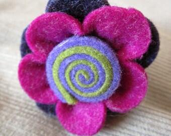 Felted flower ring