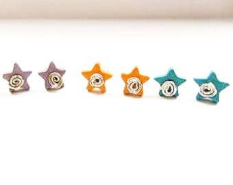 Sterling silver ceramic star earrings, swirl stud earrings, interchangeable star studs