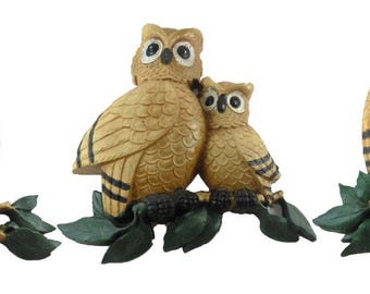 Homco 1976 Set of 3 Vintage OWL Wall Plaques 7403 B & 2 7403 A's Large Grouping Owls Retro