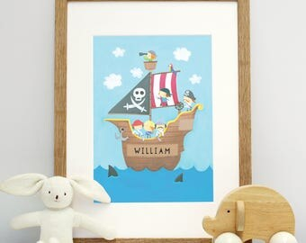 Personalised Pirate Ship Mounted Print