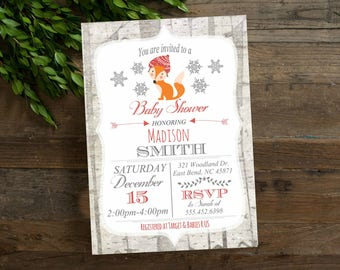 Fox Winter  Baby Shower invitation, Winter Woodland Baby Shower Invitation, Birch Trees, digital file  or printed Shower invite