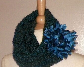 On Sale- Blue Outlander Cowl Infinity Circle Scarf Crochet Claire Chunky Style Neckwarmer Cowl