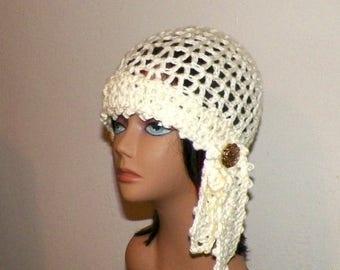 On Sale- Ivory Hat Flapper  Gypsy Cloche Summer Festival Hippie Irish Lace Chemo Button  Boho Crochet Mesh