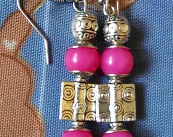 Pink/Silver Handmade Earrings by Jukeboxx Jewelry & Crochet