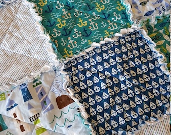 Seaside Rag Quilt, Medium Throw - Blues, Teals, Greens and White