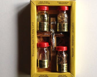 Holy Water and Crucifix Souvenir Set from the Holy Land, Holy Souvenir Gift From Jerusalem, Bethlehem