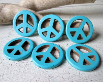 6 Peacezeichen turquoise blue * 35x3mm * peace sign * stone * beads * charms * jewelry making