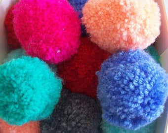 pom poms handmade mixed pastel colours  - pack of 12