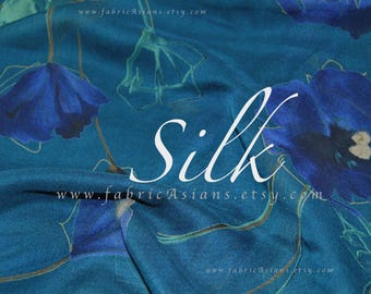 Blue Silk georgette floral fabric by the yard