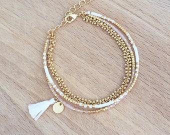 Bracelet blanc multi rangs perles miyuki doré à l'or fin