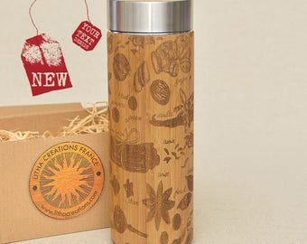 Customized Thermos Engraved Bamboo Wood SPICES Stainless Steel with Screw Lid