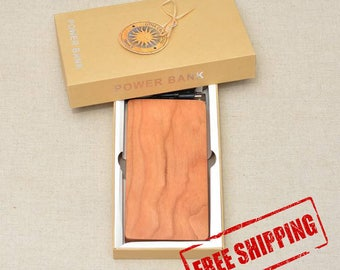 Personalized QI Wireless Charger and Power Bank Customized Engraved Cherry Wood