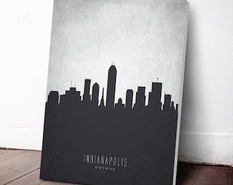 Indianapolis Skyline Canvas Print, Indianapolis Cityscape, Indianapolis Art Print, Indianapolis Decor, Home Decor, Gift Idea, USININ19C