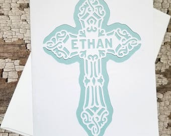 White Personalized Card >>PAPERCUT CROSS<< 5x7/Baptism/Christening/First Holy Communion/Baby Shower/Faith