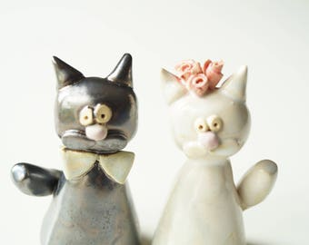 Wedding Cake Topper, Cat Cake Topper, Wedding Cake Decor, Cat Couple, Miniature Cat, Ceramic Cat, Handpainted Cake Topper