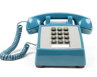 Meticulously Refurbished Vintage Touch Tone Telephone - A T & T - Mediterranean Blue - RESERVED