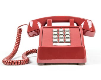 Meticulously Refurbished Vintage Touch Tone Telephone - ITT - Dark Cherry Red