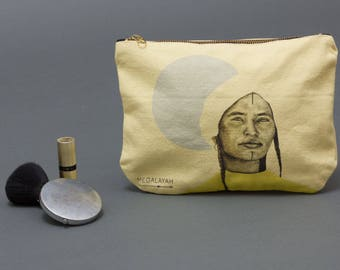 Makeup bag, zipper canvas pouch, Zipped Wallet, Accessory Purse, pencil pouch,  Small Clutch Purse, cosmetic purse, coin purse, moroccan art