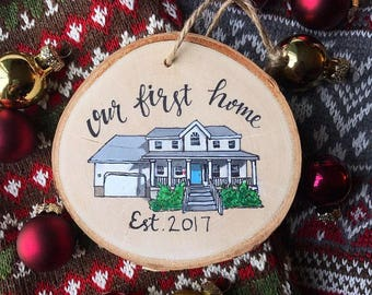 Our first home ornament, Custom house painted ornament, Handpainted wooden plaque, Housewarming gift