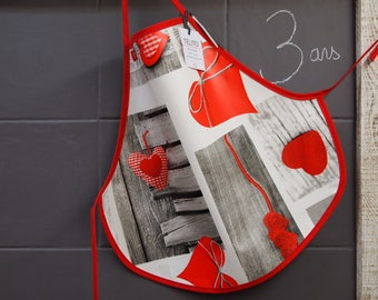 3 hearts oilcloth apron