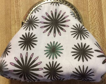 Creme with Flowers Kiss Lock Coin Purse