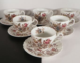 Johnson Brothers Staffordshire Bouquet Cup and Saucer Set (s) LOT OF 6