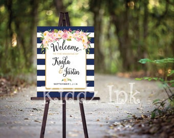 Wedding or Rehearsal Dinner Welcome Sign Poster | Navy and White Stripes | Blush and Cream Flowers | Personalized | DIY | DIGITAL PRINTABLE