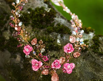 Rose Necklace in pink & Rosegold necklace Flower