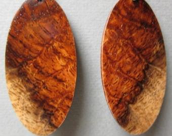 Stunning Large Exotic Wood Earrings Amboyna Burl ExoticWoodJewelryAnd handcrafted ecofriendly