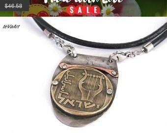 Men's Necklace, Mens Leather Necklace, Mens Jewelry Necklace, Coin Necklace, Leather Necklace, Mens Necklace, Pendant Coin