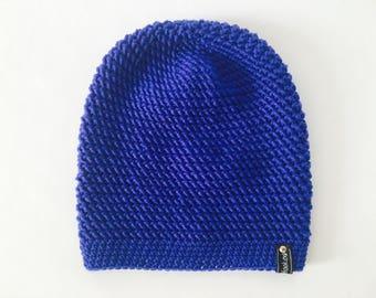 Crochet Slouchy Hat | Blue | iLux Merino
