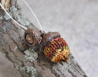 hand knit autumn acorn ornament // one-of-a-kind