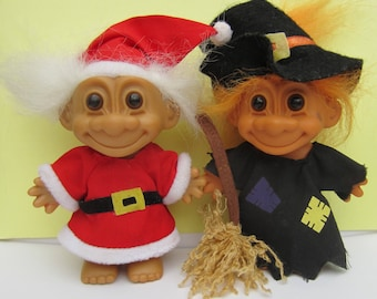 2 Russ Trolls - Halloween Witch Troll and Father Christmas Santa Claus Troll