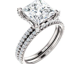 HOLD: Princess Cut Moissanite And Diamond Bridal Set