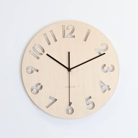 12 horloge murale en bois chiffre moderne for Horloge murale bois moderne