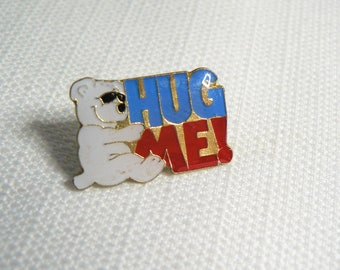 Deadstock / Never worn Vintage 80s - Teddy Bear with Sunglasses - Hug Me! - Cute / Kawaii Enamel Pin / Button / Pinback