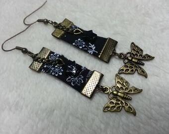 Liberty black & white butterfly earrings