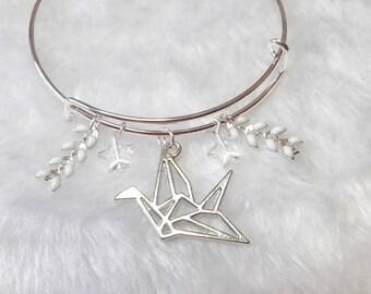 Silvery white origami bird bracelet