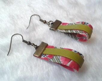 Earrings Liberty & pink and khaki leather
