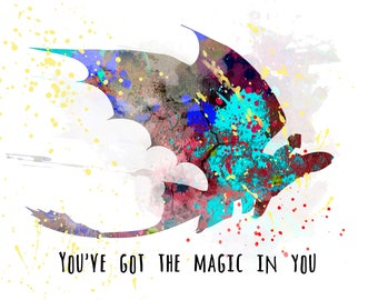 Train Your Dragon! Boy's Room Wall Art Print. Colorful Watercolor Silhouette Picture w/ Quote. DIGITAL DOWNLOAD