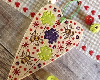 Handmade Ceramic Hanging Heart
