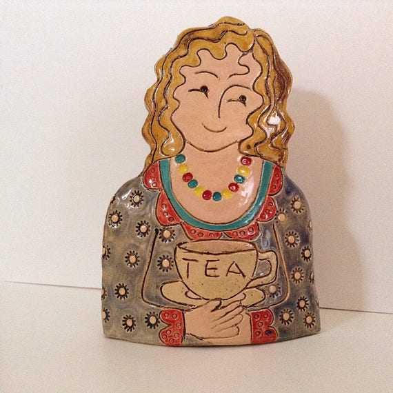 Lady with Cuppa. Handmade ceramic bust, mini-bust, Colourful People, collectible, one of a kind